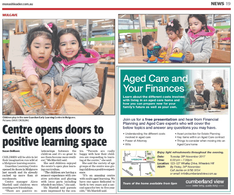 Centre opens door to positive learning Space- Mulgrave PR story in Monash Leader