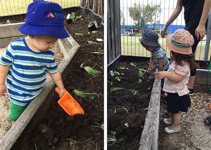 Children from Guardian Export Park gardening