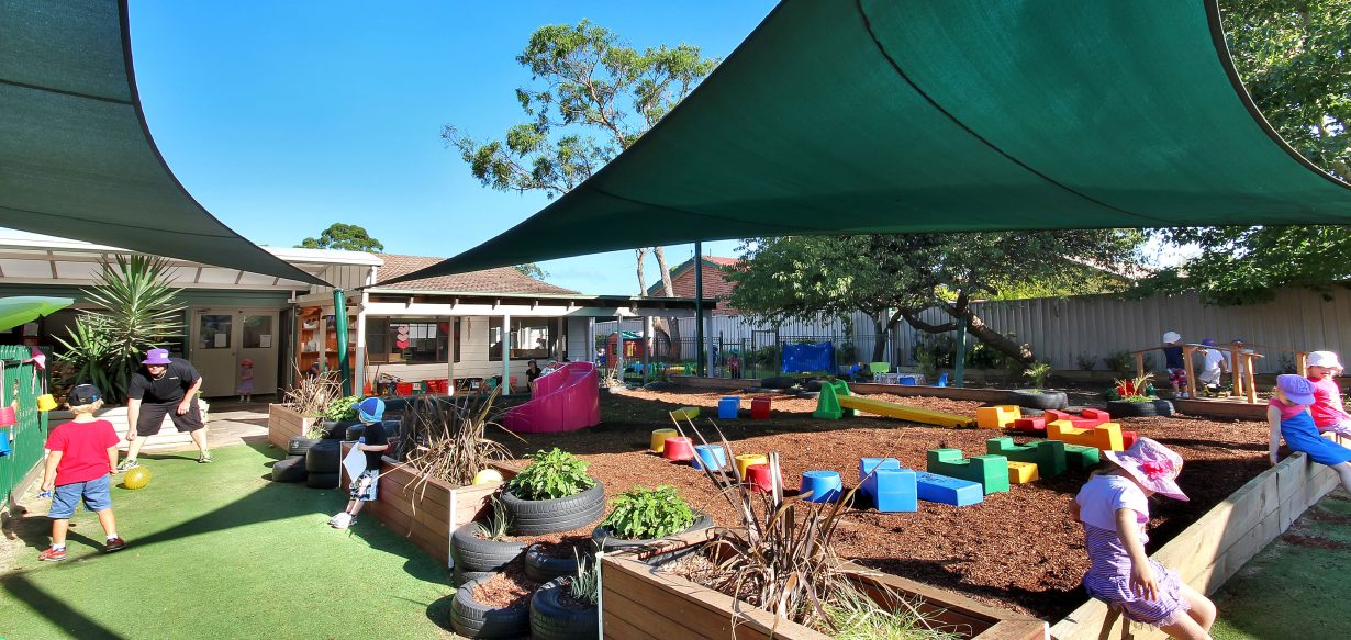 Outdoor gardens and shade cloth at Wallaby Street