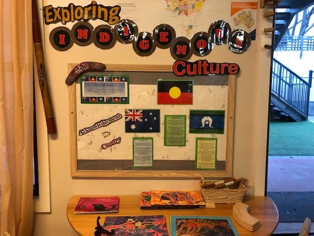 australian, torres strait islander and aboriginal flags in classroom