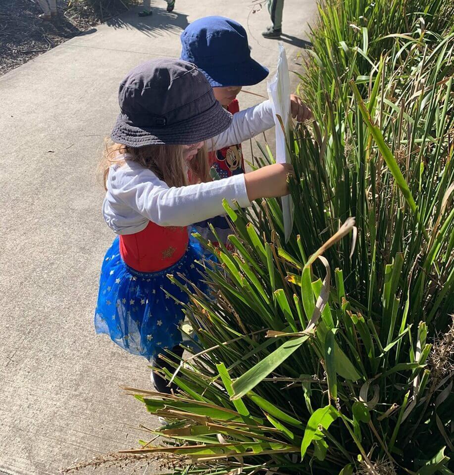 children hiding books in grass for book week activity