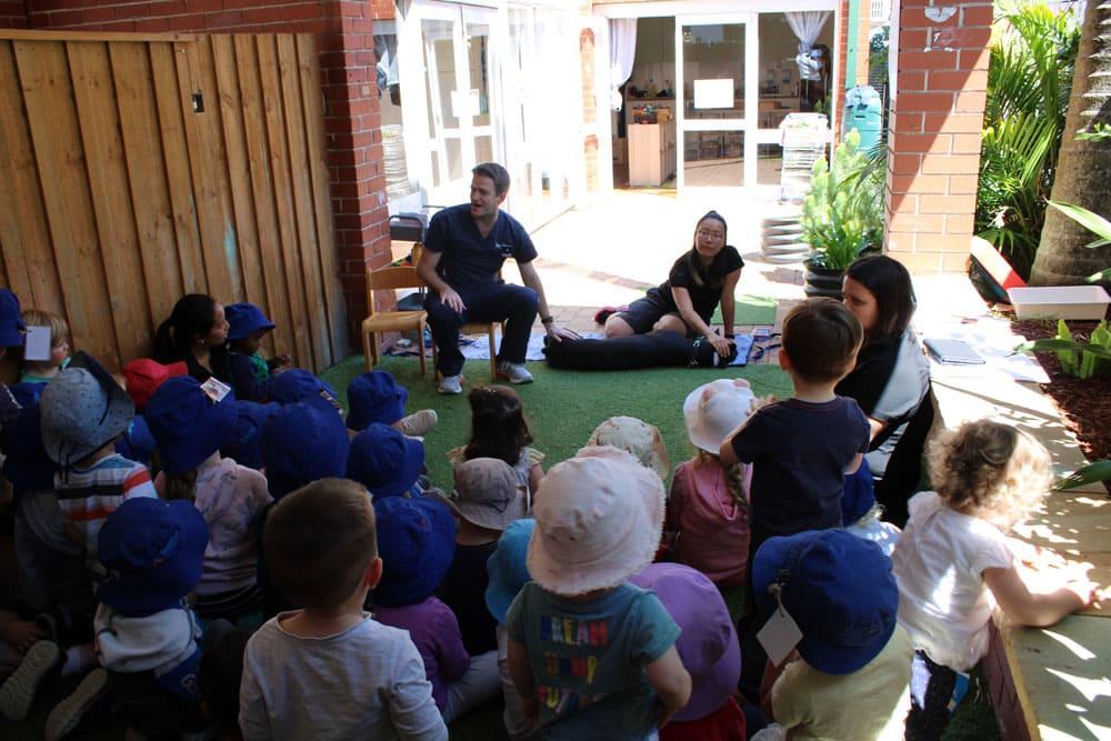 vet talking to children at community incursion