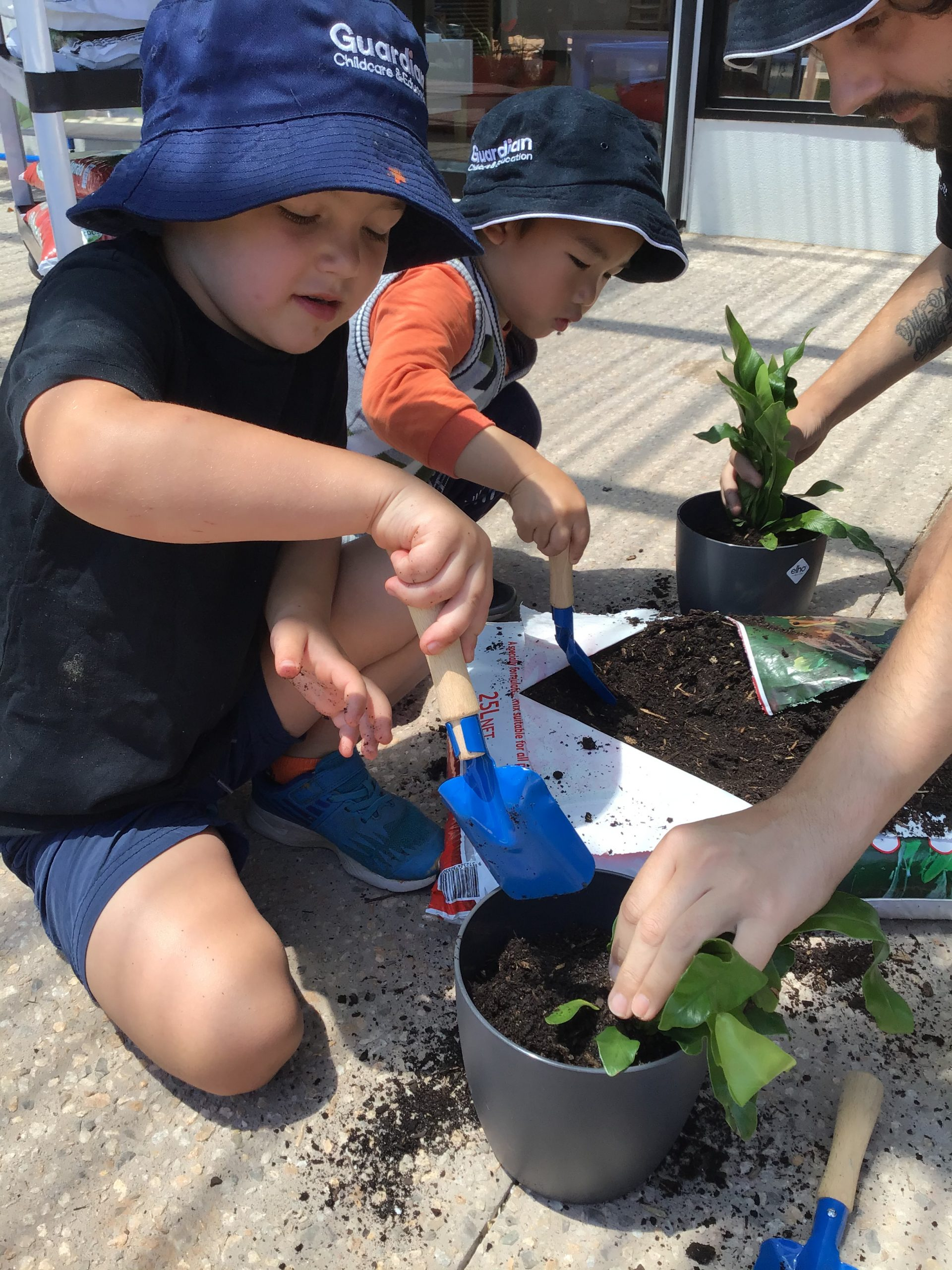 children pot plants for Guardian centre