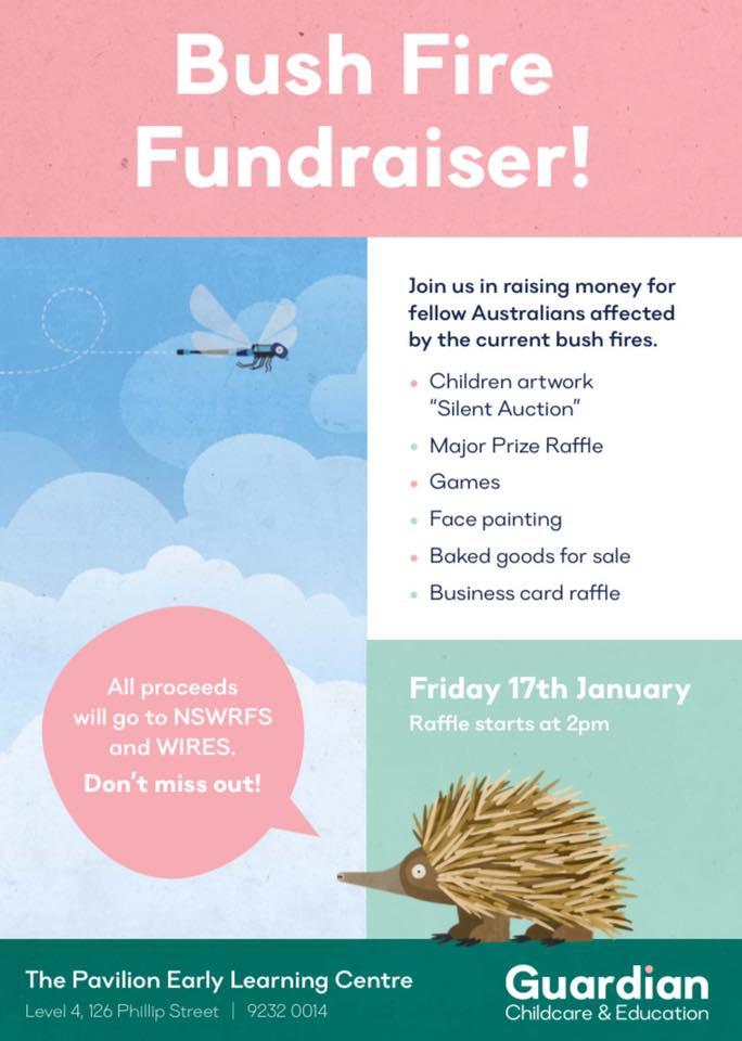 Art auction flyer to raise funds for bushfires