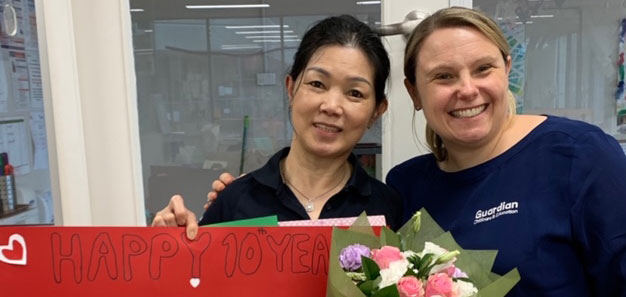 Educator Helen celebrates 10 years with Centre Manager