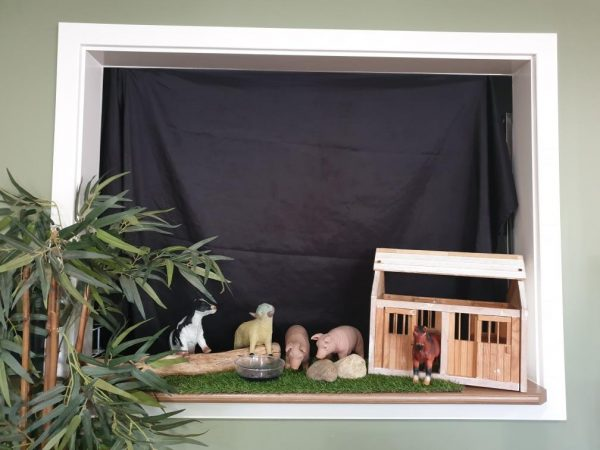window puppet show set up at childcare centre