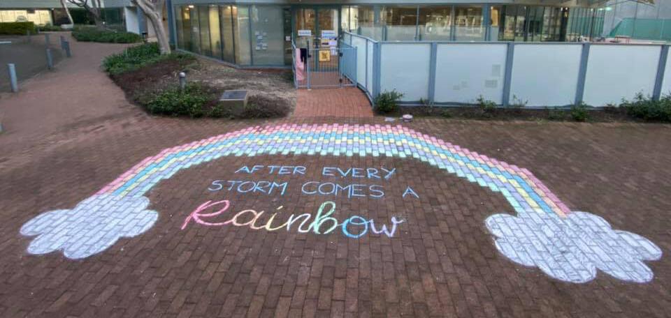 rainbow mural created by Educators at Guardian Pymble